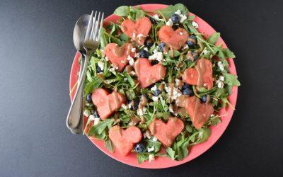 Watermelon, Feta, Blueberry and Arugula Salad